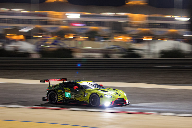 #97 Aston Martin Racing LM GTE Pro on track at Bahrain, 2019