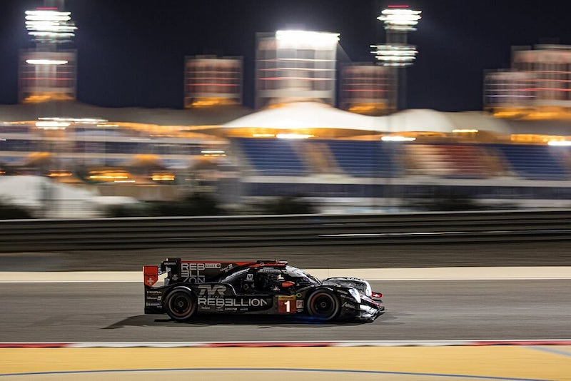 #1 Rebellion Racing LMP1 car on track at Bahrain, 2019