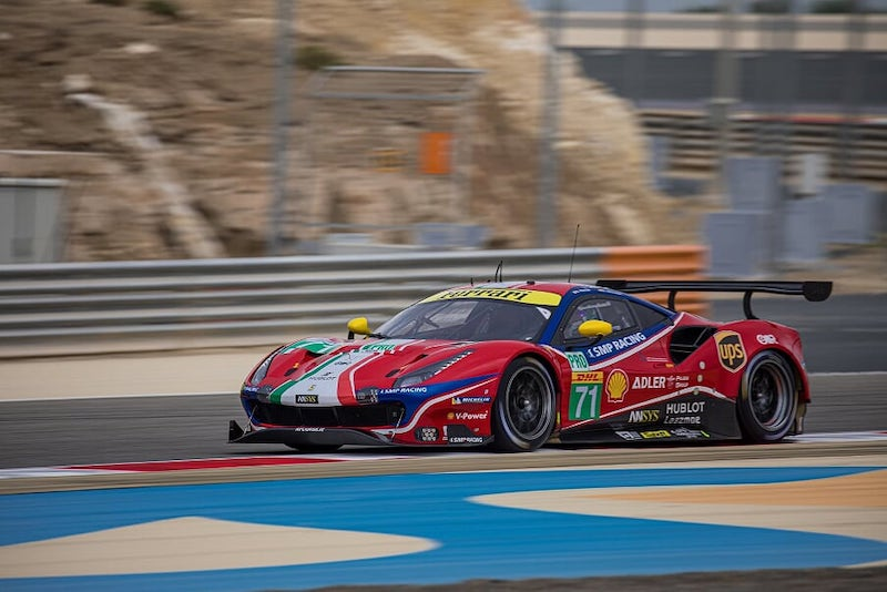#71 AF Corse LM GTE Pro car on track at Bahrain, 2019