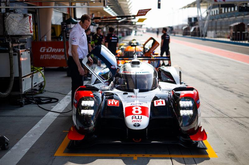 #8 Toyota Gazoo Racing LMP1 car in pit lane, Bahrain 2019