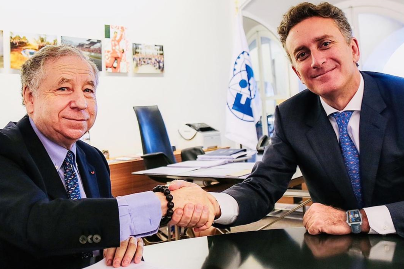 Jean Todt and Alejandro Agag meet at Palace de la Concorde