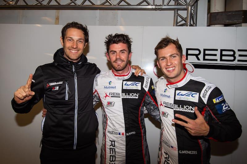 Rebellion Racing crew Bruno Senna, Norman Nato and Gustavo Menezes
