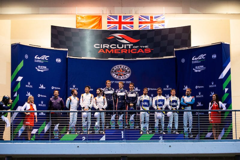 LMP2 podium after the 2020 6 Hours of COTA (left, Jackie Chan DC Racing, middle, United Autosports, right, JOTA Sport)