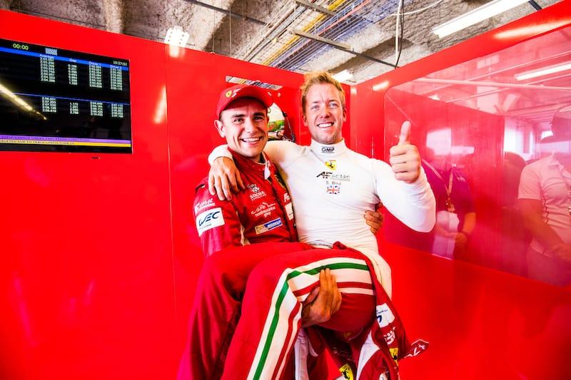 Sam Bird and Davide Rigon celebrating at the 2017 6 Hours of COTA qualifying