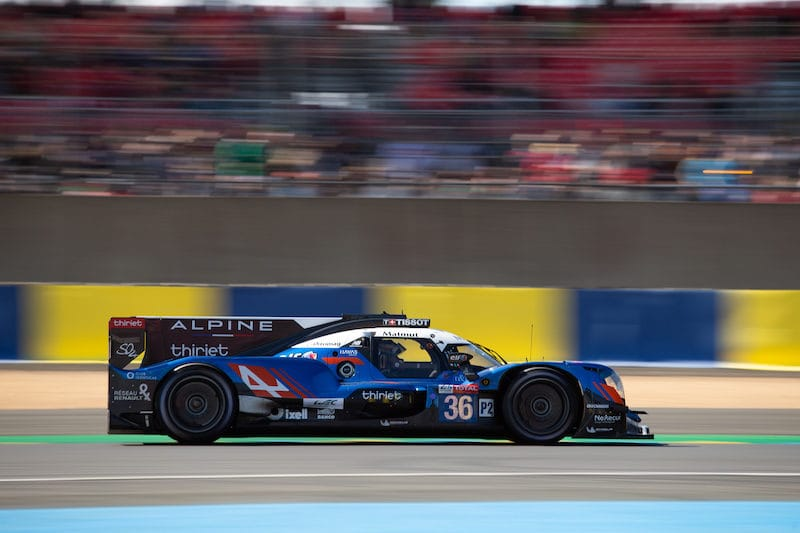 #36 Singatech Alpine on track at 24 Hours of Le Mans, 2019 (LMP2 winning car)