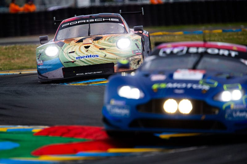 #56 Team Project 1 and #90 TF Sport battling on track at the 2019 24 Hours of Le Mans