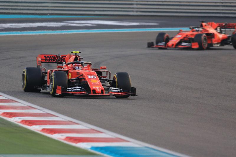 Charles Leclerc leads Sebastian Vettel on track, 2019