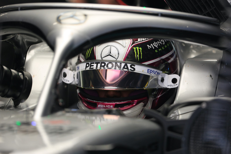 Close up in cokcpit with Lewis Hamilton, 2020