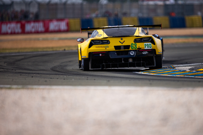 #63 Corvette Racing on track at Le Mans, 2019