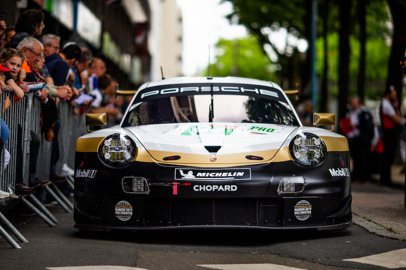 #91 Porsche GT Team at Le Mans entry parade, 2019