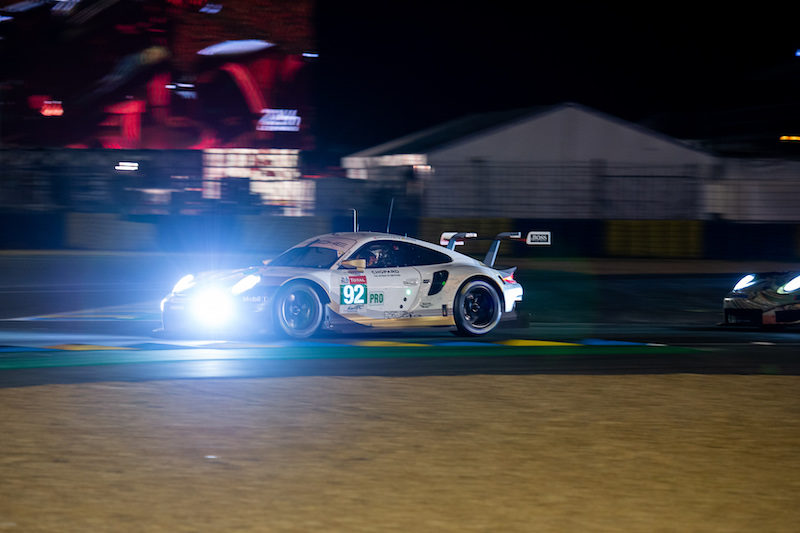 #92 Porsche GT Team on track at nuight for the 24 Hours of Le Mans, 2019