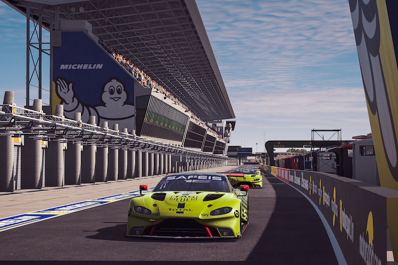 Aston Martin in pits for qualifying of Le Mans 24 Hours Virtual