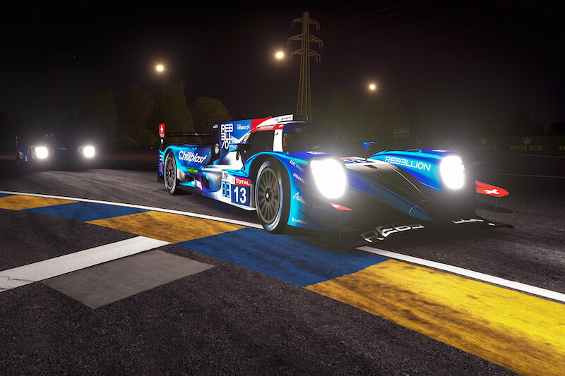 #13 Rebellion Williams Esports on track at night during the 24 Hours Le Mans Virtual