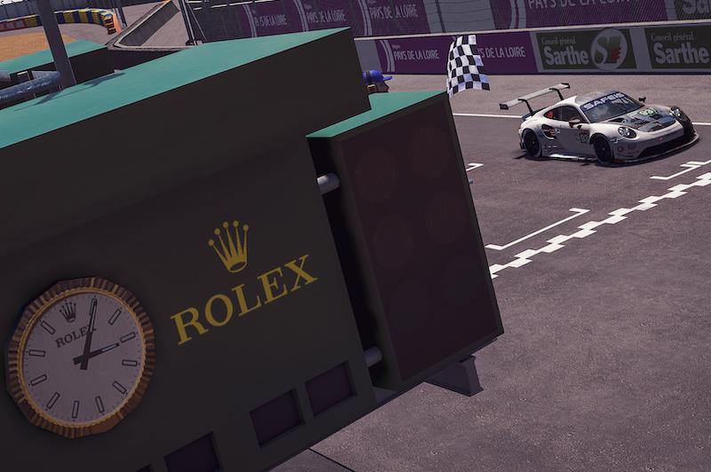 #93 Porsche Esports Team winning the GTE class at the chequered flag