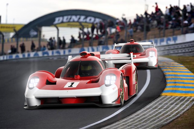 Digital render of two Scuderia Cameron Glickenhaus 007s racing at the 24 Hours of Le Mans