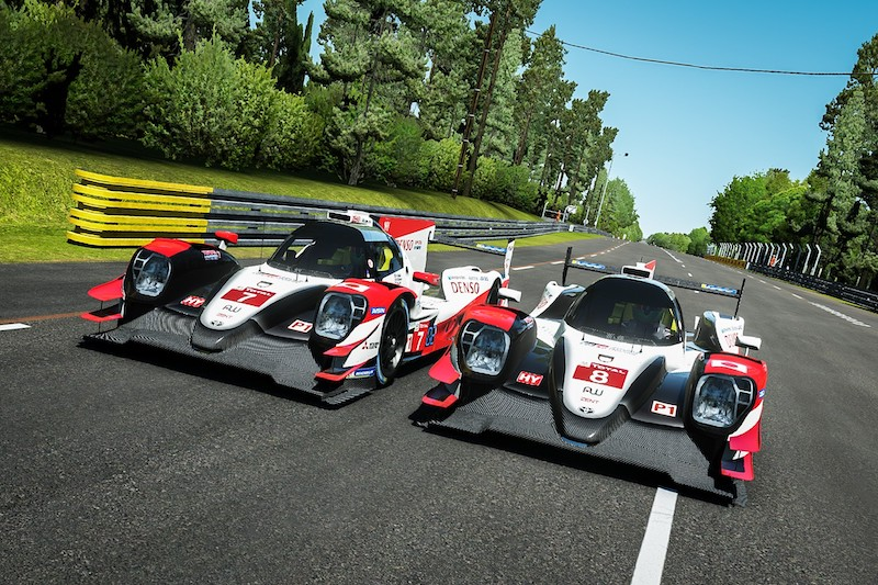 Digital render of both Toyota Gazoo Racing cars at the Virtual 24 Hours of Le Mans