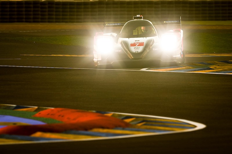 Digital render of #7 Toyota Gazoo Racing during the night at the Virtual 24 Hours of Le Mans
