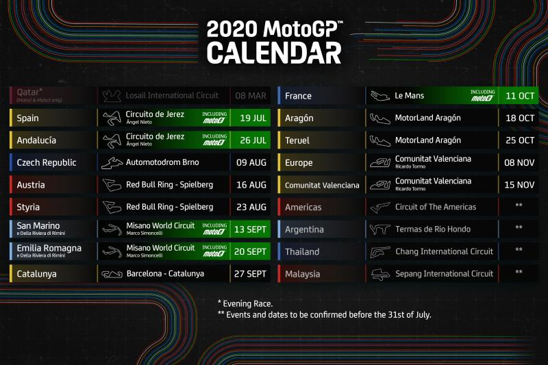 Revised Motogp 2020 Schedule Released The Checkered Flag