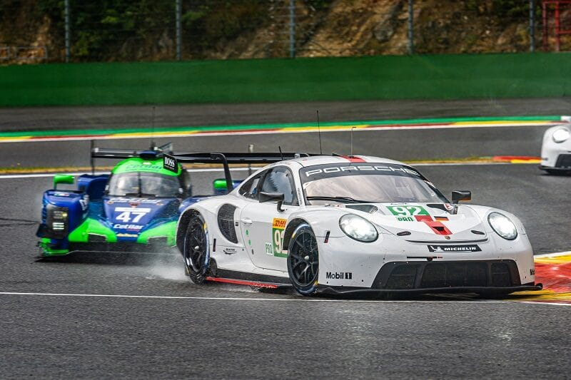 #92 Porsche GT Team and #47 Cetilar Racing racing on track during the 6 Hours of Spa-Francorchamps, 2020