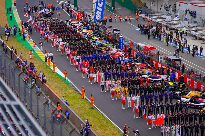 Grid ahead of the race, standing for the National Anthem at Le Mans