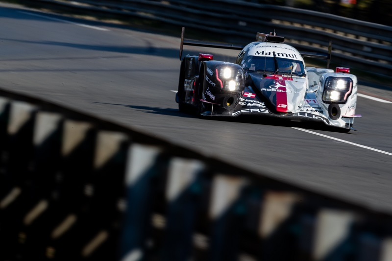 Rebellion Racing #1 racing down the Mulsanne Straight at the 24 Hours of Le Mans, 2020