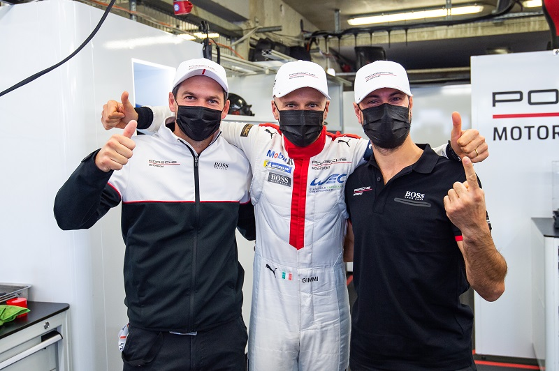 #91 Porsche GT Team after taking GTE Pro pole position at 24 Hours of Le Mans, 2020