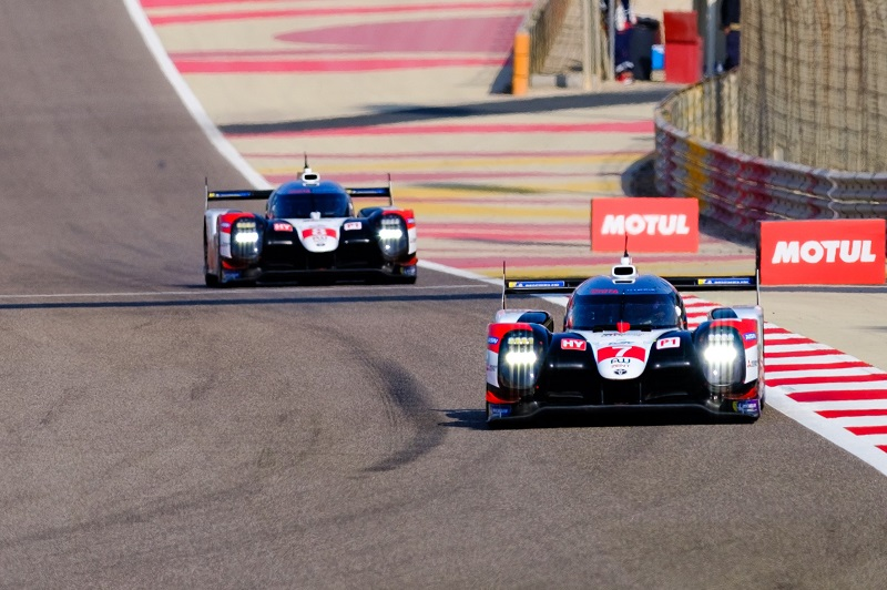 World Endurance Drivers' Championship-winning #7 Toyota Gazoo Racing of Mike Conway, Jose Maria Lopez and Kamui Kobayashi leading sister car #8 around track at Bahrain International Circuit