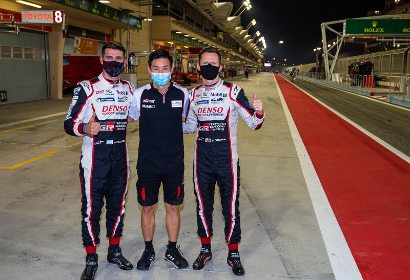 Jose Maria Lopez, Kamui Kobayashi and Mike Conway, Toyota Gazoo Racing #7 Pole Position, Bahrain 2020