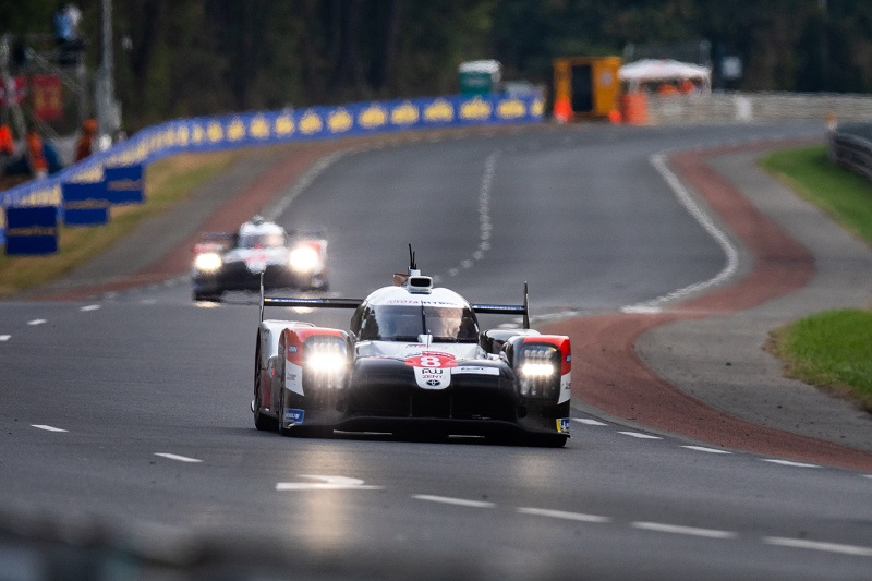 Toyota Gazoo Racing #7 chasing Toyota Gazoo Racing #8 on track at Le Mans