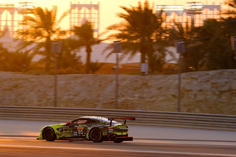 World Endurance GTE Drivers' Champion-winning #95 Aston Martin Racing of Marco Sorensen and Nickin Thiim on track at Bahrain International Circuit