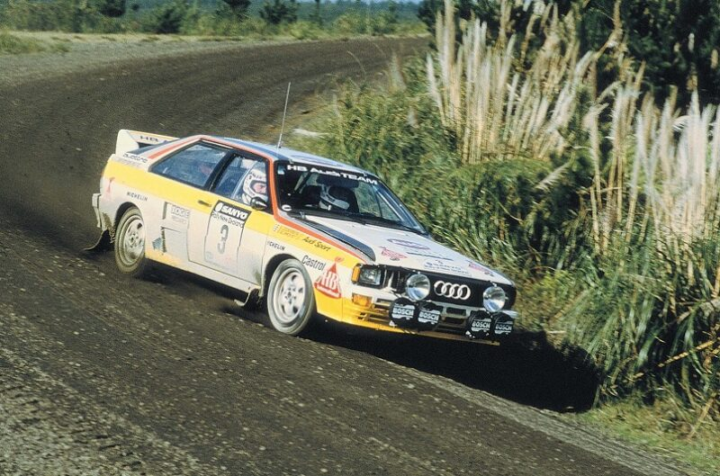 Audi Quattro racing to Audi's second Rally Manufacturers' Championship 1984