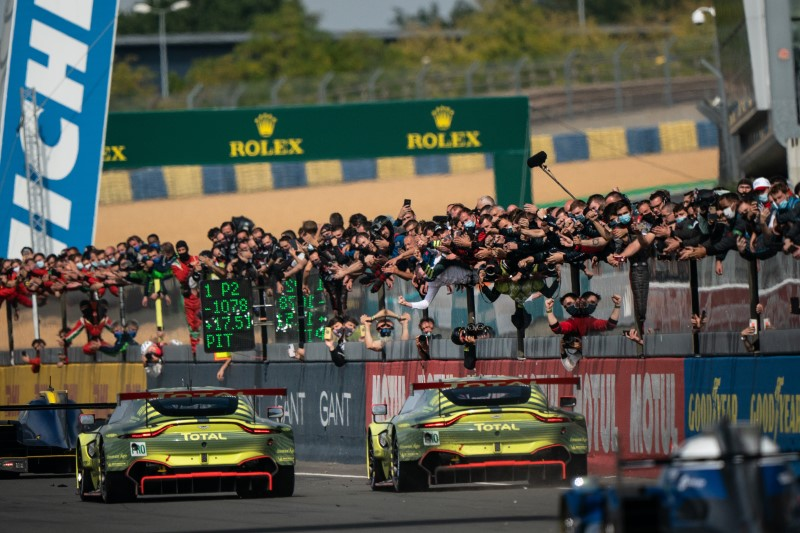 Aston Martin Racing crossing the line at 24 Hours of Le Mans 2020