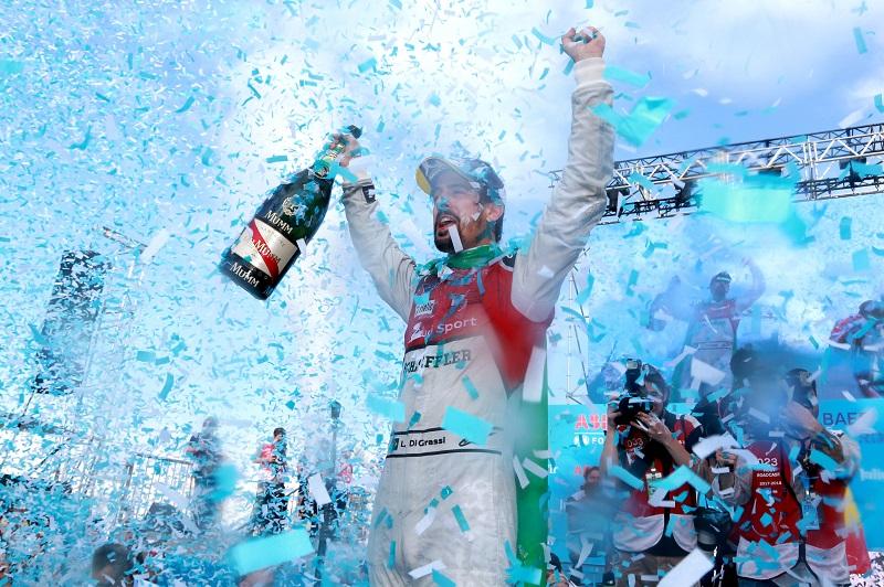 Luca di Grassi winning the Formula E Driver' Title with Audi