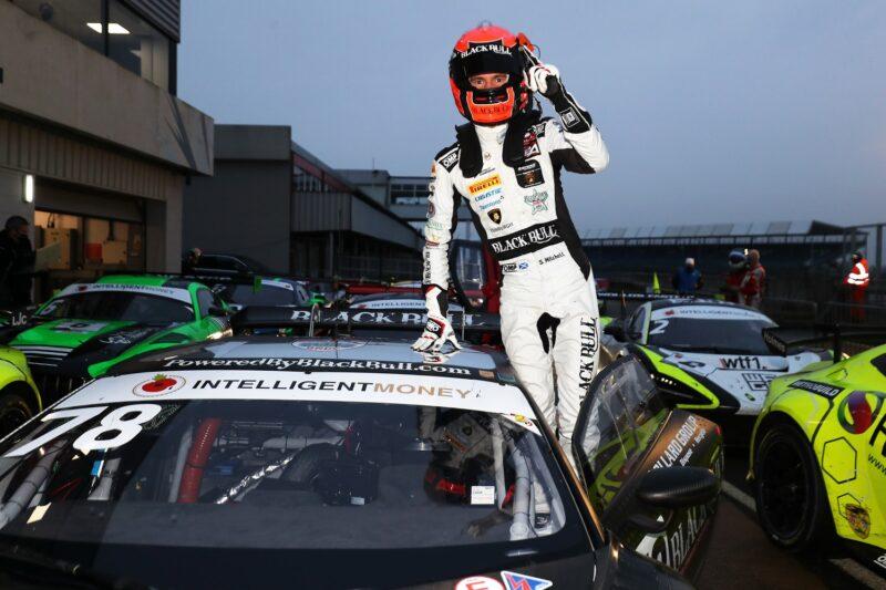 Sandy Mitchell celebrates winning the 2020 Intelligent Money British GT Championship with Rob Collard in the #78 Barwell Motorsport Lamborghini Huracan GT3 Evo.