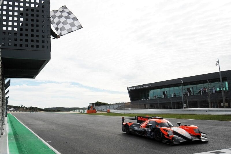 #26 G-Drive taking the chequered flag at the 2020 European Le Mans Series 4 Hours of Portimao