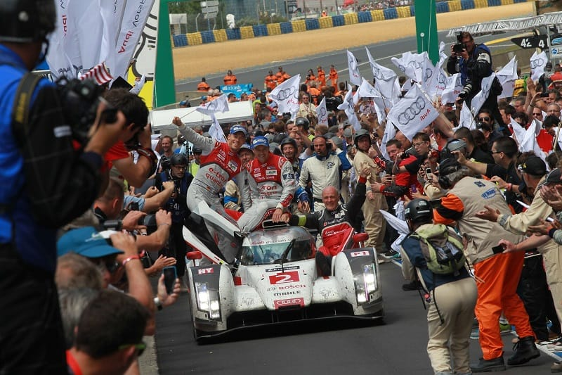 Audi Sport celebrating their 13th 24 Hours of Le Mans overall victory with pit lane parade.