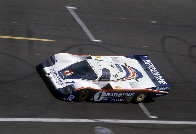 #1 Jacky Ickx/Dereck Bell Porsche 956 crossing the line at the 1982 24 Hours of Le Mans