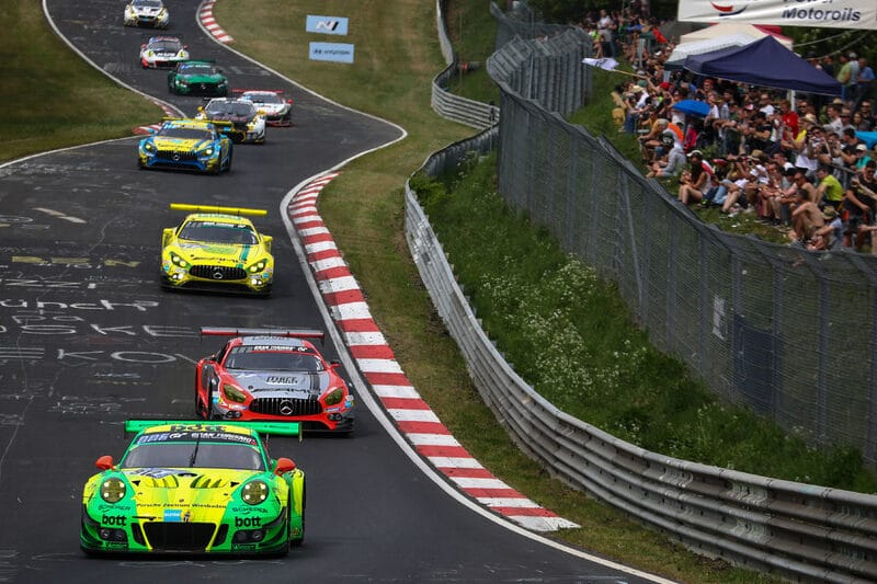 Manthey-Racing's Porsche 911 GT3 R on its way to the team's record sixth Nurburgring 24 Hours victory in 2018.