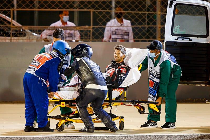 Romain Grosjean - Ambulance after Bahrain accident