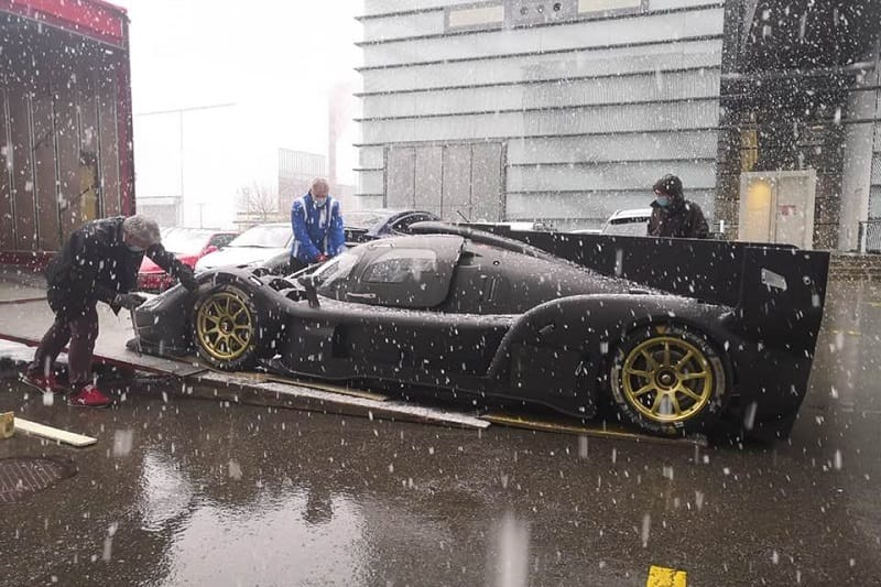 The 007 LMH Scuderia Cameron Glickenhaus arriving at the sauber wind tunnel in Switzerland