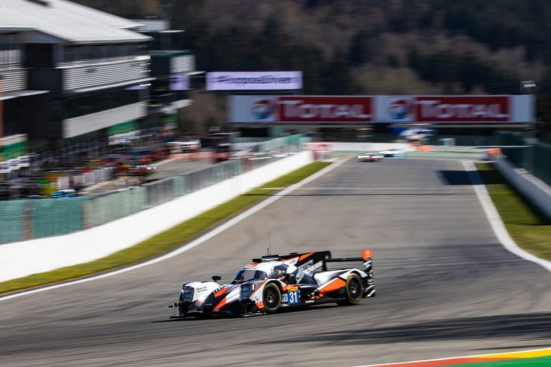 #31 Team WRT LMP2 car coming down the start/finish straight at Spa-Francorchamps, 2021 FIA WEC Prologue