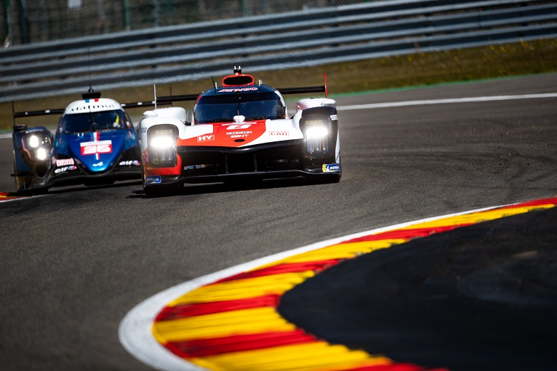 Toyota Gazoo Racing #8 and Alpine Elf Matmut #36 Racing on track in FP2 for the WEC 6 Hours of Spa-Francorchamps, 2021