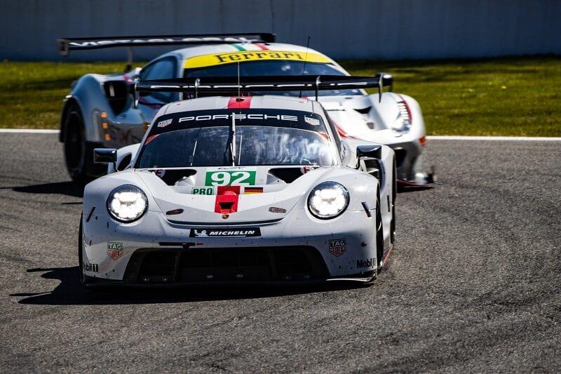#92 Porsche GT Team racing a GTE Am Ferrari at Spa-Francorchamps, 2021 FIA WEC Prologue