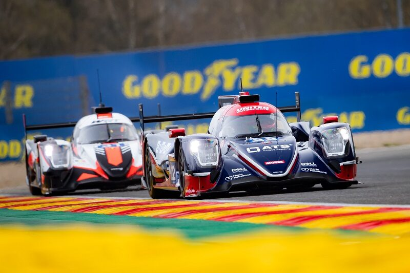 #22 United Autosports leading a G-Drive Racing entry at Spa-Francorchamps, 2021