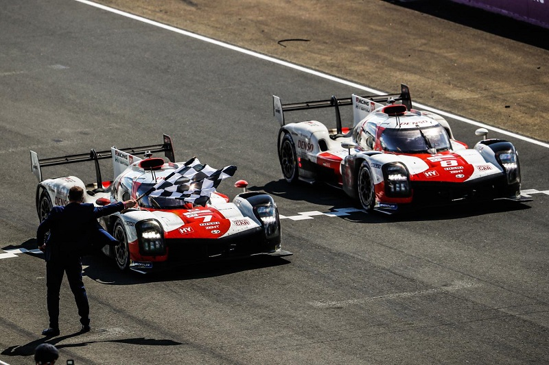 Toyota Gazoo Racing crossing the line in formation with their overall one-two at the 2021 24 Hours of Le Mans