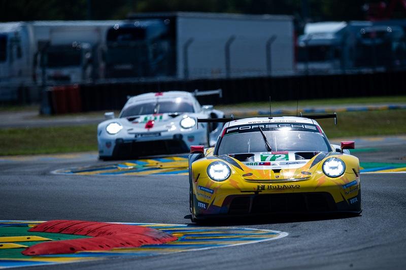 #72 Hub Auto Racing Porsche on track at Circuit de la Sarthe for 24 Hours of Le Mans 2021